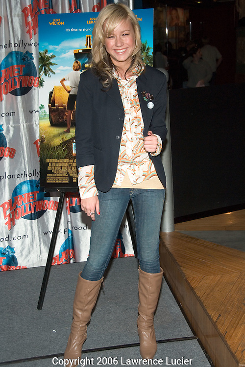 """Brie Larson promotes her new movie """"Hoot"""" at Planet Hollywood April 21, 2006, in New York City. . (Pictured: Brie Larson)"""