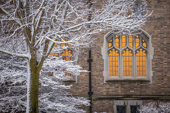 March 23, 2020; Biolchini Hall of Law after a snowfall (Photo by Matt Cashore/University of Notre Dame)