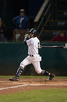 Helena Brewers first baseman Bryan Torres (16) follows through on his swing during a Pioneer League game against the Orem Owlz at Kindrick Legion Field on August 21, 2018 in Helena, Montana. The Orem Owlz defeated the Helena Brewers by a score of 6-0. (Zachary Lucy/Four Seam Images)