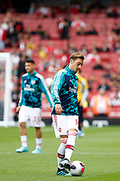 Mesut Özil of Arsenal warms up during the Premier League match between Arsenal and Aston Villa at the Emirates Stadium, London, England on 22 September 2019. Photo by Carlton Myrie / PRiME Media Images.