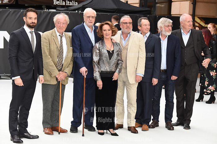 LONDON, UK. September 12, 2018: Charlie Cox, Sir Michael Gambon, Sir Michael Caine, Francesca Annis, Ray Winstone,  Sir Tom Courtenay &amp; Jim Broadbent at the World Premiere of &quot;King of Thieves&quot; at the Vue Cinema, Leicester Square, London.<br /> Picture: Steve Vas/Featureflash