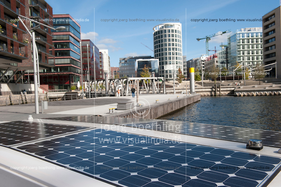 "Europa Deutschland DEU Hamburg Solarboot des Verein greenlife in Hafencity | .Europe Germany GER Hamburg.  -  .| [ copyright (c) Joerg Boethling / agenda , Veroeffentlichung nur gegen Honorar und Belegexemplar an / publication only with royalties and copy to:  agenda PG   Rothestr. 66   Germany D-22765 Hamburg   ph. ++49 40 391 907 14   e-mail: boethling@agenda-fototext.de   www.agenda-fototext.de   Bank: Hamburger Sparkasse  BLZ 200 505 50  Kto. 1281 120 178   IBAN: DE96 2005 0550 1281 1201 78   BIC: ""HASPDEHH"" ,  WEITERE MOTIVE ZU DIESEM THEMA SIND VORHANDEN!! MORE PICTURES ON THIS SUBJECT AVAILABLE!! ] [#0,26,121#]"
