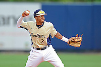4 March 2012:  FIU shortstop Julius Gaines (2) throws to first as the FIU Golden Panthers defeated the Brown University Bears, 8-3, at University Park Stadium in Miami, Florida.