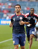 New York defender Rafael Marquez (4) warms up before the game.  The Chicago Fire tied the New York Red Bulls 0-0 at Toyota Park in Bridgeview, IL on August 8, 2010