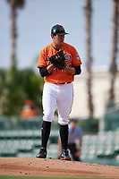 Baltimore Orioles pitcher Grayson Rodriguez (58) gets ready to deliver a pitch during a Florida Instructional League game against the Pittsburgh Pirates on September 22, 2018 at Ed Smith Stadium in Sarasota, Florida.  (Mike Janes/Four Seam Images)