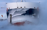 A deckhand is lowered to the wharf as the ice-encrusted Algoma Niagara ties up at Sarnia Harbour on the morning of Jan. 31. The Great Lakes freighter arrived in port to a bone-chilling temperature of -24 C, the coldest recorded so far in 2019. The wind chill was -36 C at the time. Glenn Ogilvie