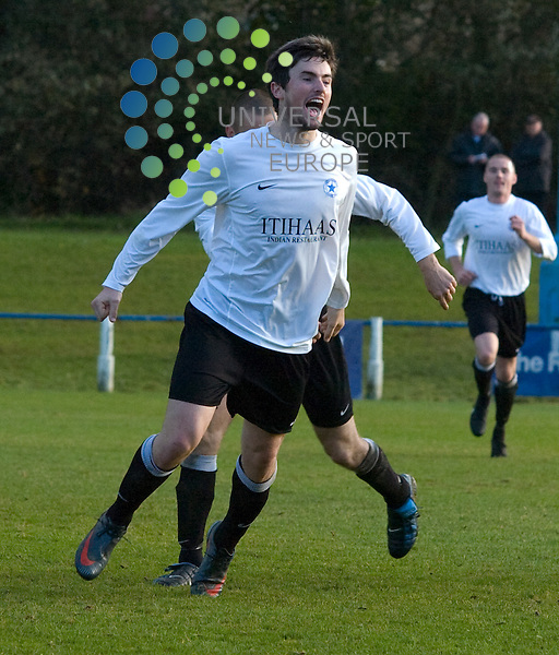 Newtongrange's Steven Thompson celebrates making it 2-0 with his shot from 25 yards during the East Region Super League game, pictures by Colin LunnUniversal News and Sport (Scotland)