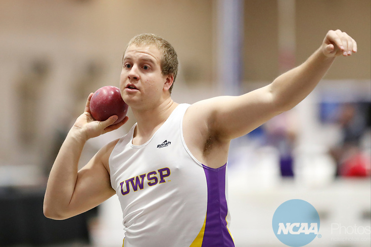 NAPERVILLE, IL - MARCH 11: Brent Reierson of UW-Steven Point competes in the shot put at the Division III Men's and Women's Indoor Track and Field Championship held at the Res/Rec Center on the North Central College campus on March 11, 2017 in Naperville, Illinois. (Photo by Steve Woltmann/NCAA Photos via Getty Images)