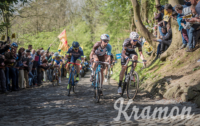 early breakaway group up the infamous Muur van Geraardsbergen (1100m/7.6%) that is back in the parcours after a 5 year hiatus<br /> <br /> 101th Ronde Van Vlaanderen 2017 (1.UWT)<br /> 1day race: Antwerp &rsaquo; Oudenaarde - BEL (260km)