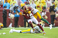 Landover, MD - September 23, 2018: Washington Redskins wide receiver Paul Richardson (10) catches a touchdown during the  game between Green Bay Packers and Washington Redskins at FedEx Field in Landover, MD.   (Photo by Elliott Brown/Media Images International)