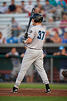 Hudson Valley Renegades first baseman Jacson McGowan (37) at bat during a game against the Auburn Doubledays on September 5, 2018 at Falcon Park in Auburn, New York.  Hudson Valley defeated Auburn 11-5.  (Mike Janes/Four Seam Images)
