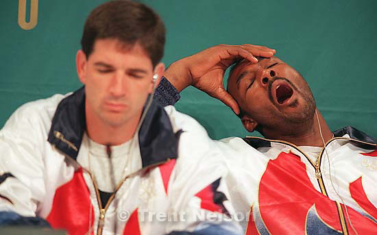 John Stockton and Karl Malone bored at the Dream Team press conference at the 1996 Summer Olympic Games<br />