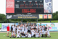 The Kannapolis Intimidators pose for a team photo after their win over the West Virginia Power at Kannapolis Intimidators Stadium on June 18, 2017 in Kannapolis, North Carolina.  The Intimidators defeated the Power 5-3 to win the South Atlantic League Northern Division first half title.  It is the first trip to the playoffs for the Intimidators since 2009.  (Brian Westerholt/Four Seam Images)