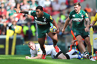 Manu Tuilagi in possession. Aviva Premiership match, between Leicester Tigers and Newcastle Falcons on September 21, 2013 at Welford Road in Leicester, England. Photo by: Patrick Khachfe / JMP