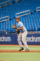 Carlos Vargas (21) during the Tampa Bay Rays Instructional League Intrasquad World Series game on October 3, 2018 at the Tropicana Field in St. Petersburg, Florida.  (Mike Janes/Four Seam Images)