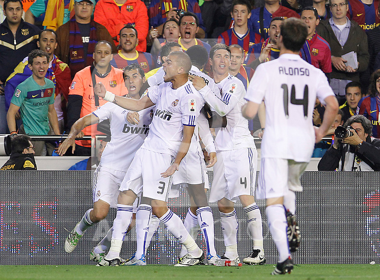 Real Madrid's Alvaro Arbeloa, Cristiano Ronaldo, Emmanuel Adebayor, Sergio Ramos,Xabi Alonso and Pepe celebrate goal during King's Cup 2001 Final match.April 20,2011. (ALTERPHOTOS/Acero)