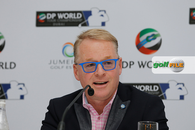 Keith Pelley CEO European Tour addressing the media at his press conference during the previews of the DP World Tour Championship, Jumeirah Golf Estates, Dubai, UAE.  17/11/2015.<br /> Picture: Golffile | Fran Caffrey<br /> <br /> <br /> All photo usage must carry mandatory copyright credit (&copy; Golffile | Fran Caffrey)