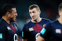 Jonny May of England speaks with team-mate Mako Vunipola after the match. Old Mutual Wealth Series International match between England and Argentina on November 26, 2016 at Twickenham Stadium in London, England. Photo by: Patrick Khachfe / Onside Images