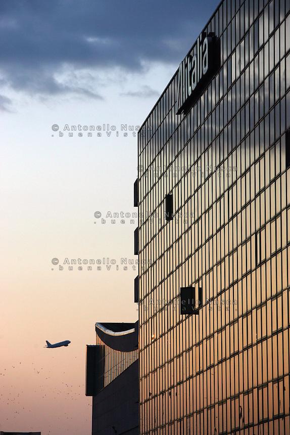Il palazzo dell'Alitalia all'aeroporto Leonardo da Vinci
