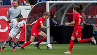 CARSON, CA - FEBRUARY 9: Rebecca Quinn #5 of Canada moves after the ball along the sideline during a game between Canada and USWNT at Dignity Health Sports Park on February 9, 2020 in Carson, California.