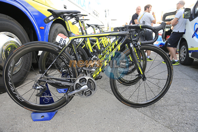 Orica-Scott team bikes lined up outside the team bus in Mondorf-les-Bains before the start of Stage 4 of the 104th edition of the Tour de France 2017, running 207.5km from Mondorf-les-Bains, Luxembourg to Vittel, France. 4th July 2017.<br /> Picture: Eoin Clarke | Cyclefile<br /> <br /> <br /> All photos usage must carry mandatory copyright credit (&copy; Cyclefile | Eoin Clarke)