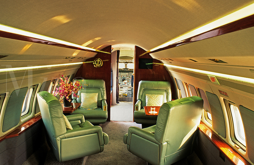 Interior of private executive jet.