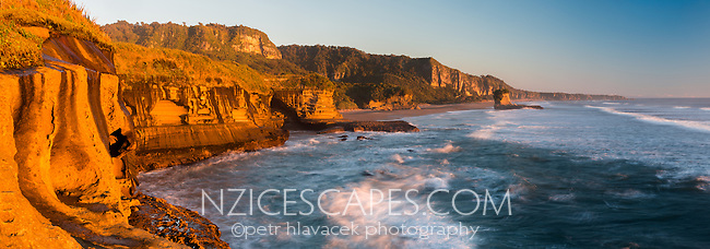 Wethered limestone formations on Truman Track under sunset in Punakaiki, Paparoa National Park, West Coast, New Zealand, NZ