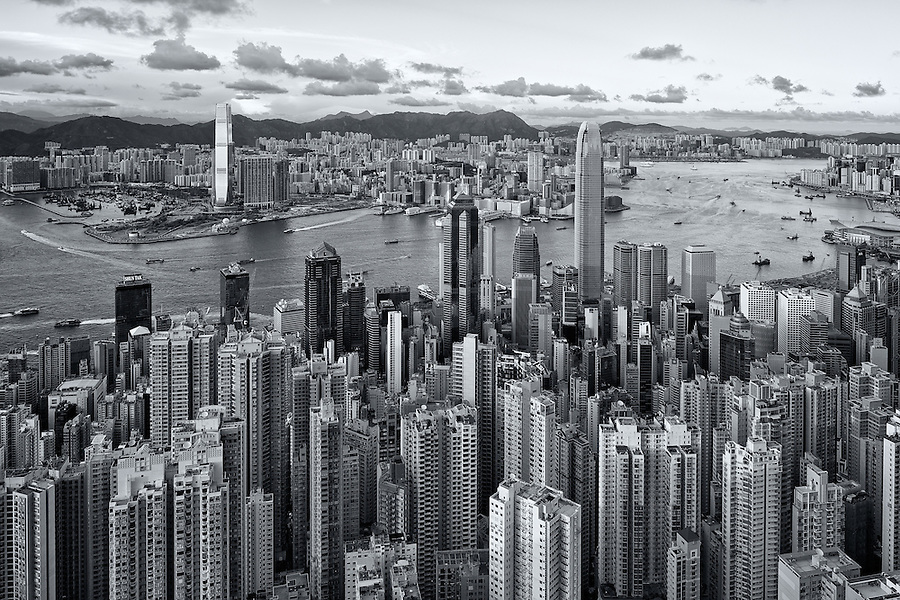 View Of Central And Kowloon From The Peak On Hong Kong Island.