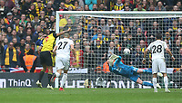 Watford's Troy Deeney scores his side's second goal from the penalty spot<br /> <br /> Photographer Rob Newell/CameraSport<br /> <br /> Emirates FA Cup Semi-Final  - Watford v Wolverhampton Wanderers - Sunday 7th April 2019 - Wembley Stadium - London<br />  <br /> World Copyright © 2019 CameraSport. All rights reserved. 43 Linden Ave. Countesthorpe. Leicester. England. LE8 5PG - Tel: +44 (0) 116 277 4147 - admin@camerasport.com - www.camerasport.com