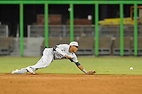 7 March 2012:  FIU shortstop Julius Gaines (2) dives for a ground ball as the Miami Marlins defeated the FIU Golden Panthers, 5-1, at Marlins Park in Miami, Florida.