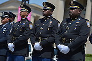 May 10, 2013  (Washington, DC)  Federal Protective Service police officers stand in ranks during a ceremony at the Washington Area Law Enforcement Memorial.  (Photo by Don Baxter/Media Images International)