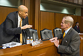 "United States Senators Cory Booker (Democrat of New Jersey), left, and Bill Nelson (Democrat of Florida), right, discuss legislative proposals before the start of the US  Senate Committee on the Judiciary hearing testimony during ""an oversight hearing to examine the Parkland shooting and legislative proposals to improve school safety"" on Capitol Hill in Washington, DC on Wednesday, March 14, 2018.<br /> Credit: Ron Sachs / CNP"