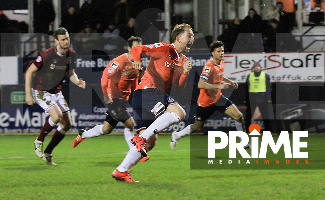 Danny Green celebrates his goal during the Sky Bet League 2 match between Luton Town and Northampton Town at Kenilworth Road, Luton, England on 12 December 2015. Photo by Liam Smith/Prime Media Images.