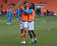 Blackpool's Clark Robertson (left) and Sessi D'Almeida during the pre-match warm-up <br /> <br /> Photographer Stephen White/CameraSport<br /> <br /> The EFL Sky Bet League One - Blackpool v Bristol Rovers - Saturday 13th January 2018 - Bloomfield Road - Blackpool<br /> <br /> World Copyright &copy; 2018 CameraSport. All rights reserved. 43 Linden Ave. Countesthorpe. Leicester. England. LE8 5PG - Tel: +44 (0) 116 277 4147 - admin@camerasport.com - www.camerasport.com