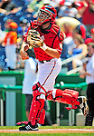 7 June 2009: Washington Nationals' catcher Josh Bard in action against the New York Mets at Nationals Park in Washington, DC. The Mets shut out the Nationals 7-0 to take the third game of the weekend series. Mandatory Credit: Ed Wolfstein Photo