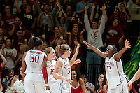 STANFORD, CA-JANUARY 28, 2011: Chiney Ogwumike celebrates the final seconds during a 74-71 overtime win over the Cal Bears.