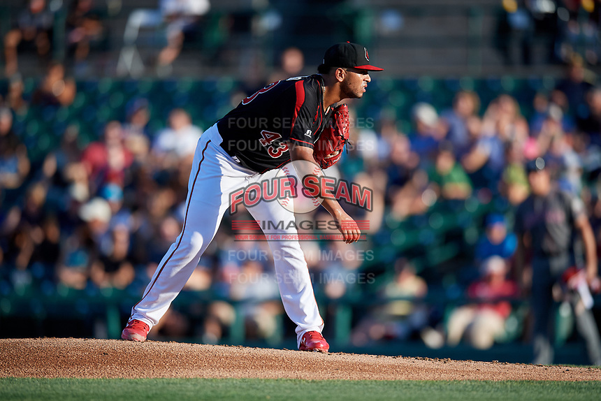 Rochester Red Wings starting pitcher Fernando Romero (43) looks in for the sign during a game against the Lehigh Valley IronPigs on September 1, 2018 at Frontier Field in Rochester, New York.  Lehigh Valley defeated Rochester 2-1.  (Mike Janes/Four Seam Images)