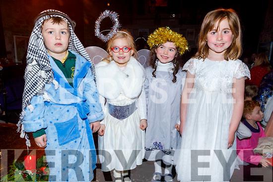 Gaelscoil Lios Tuathail's junior infants Fionn Ó Mathúna, Anna Ní Chionnfhaolaidh, Síofra Ní Réagáin and Autumn Ní Laoithe take part in their Scéal Na Nollag Christmas show in St Johns Theatre on Tuesday.