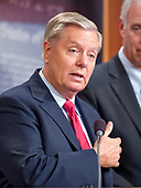"United States Senator Lindsey Graham (Republican of South Carolina), one of several key Republican Senators, answers a reporter's question as he announces he will not support the ""skinny repeal"" of the Affordable Care Act (ACA) unless he has assurances from US House leaders that the bill will never become law.   Instead they demand negotiations or they will kill the bill, in the US Capitol in Washington, DC on Thursday, July 27, 2017.  <br /> Credit: Ron Sachs / CNP"