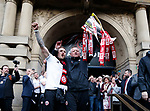 Billy Sharp of Sheffield Utd and Chris Wilder outside the town hall during the open top bus parade from Bramall Lane Stadium to Sheffield Town Hall, Sheffield. Picture date: May 2nd 2017. Pic credit should read: Simon Bellis/Sportimage