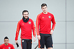 Juan Mata and Patrick McNair of Manchester United during the UEFA Europa League training at the AON Carrington training complex. Photo credit should read: Philip Oldham/Sportimage