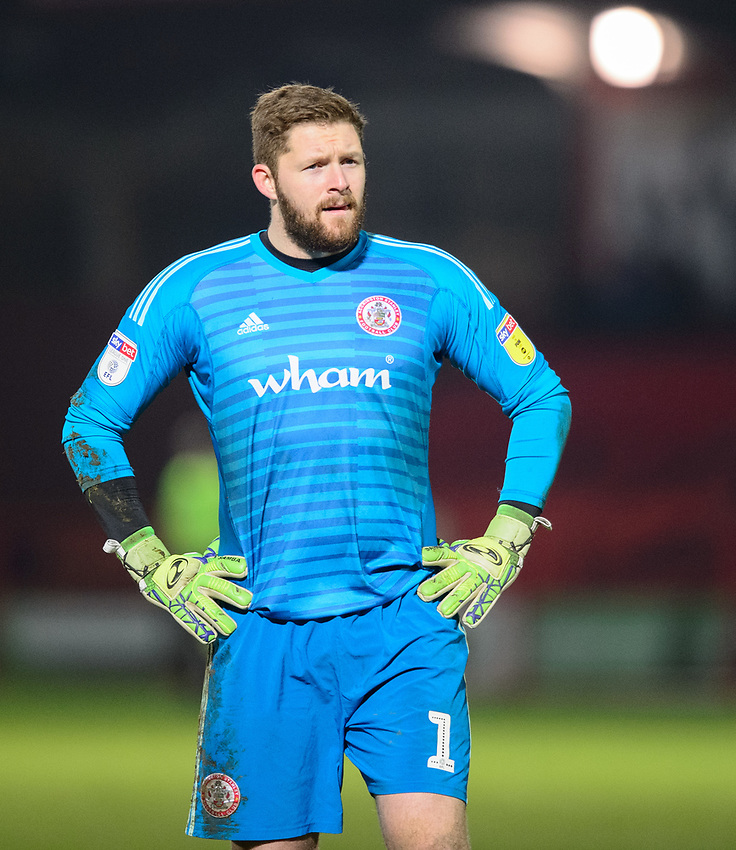 Accrington Stanley's Jonathan Maxted<br /> <br /> Photographer Andrew Vaughan/CameraSport<br /> <br /> The EFL Checkatrade Trophy Second Round - Accrington Stanley v Lincoln City - Crown Ground - Accrington<br />  <br /> World Copyright © 2018 CameraSport. All rights reserved. 43 Linden Ave. Countesthorpe. Leicester. England. LE8 5PG - Tel: +44 (0) 116 277 4147 - admin@camerasport.com - www.camerasport.com