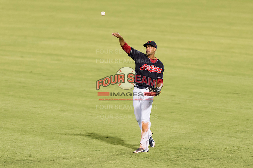 AZL Indians 1 right fielder Johnathan Rodriguez (30) during an Arizona League playoff game against the AZL Rangers at Goodyear Ballpark on August 28, 2018 in Goodyear, Arizona. The AZL Rangers defeated the AZL Indians 1 7-4. (Zachary Lucy/Four Seam Images)