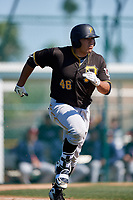 Pittsburgh Pirates Jose Barraza (46) during a minor league Spring Training game against the Atlanta Braves on March 13, 2018 at Pirate City in Bradenton, Florida.  (Mike Janes/Four Seam Images)