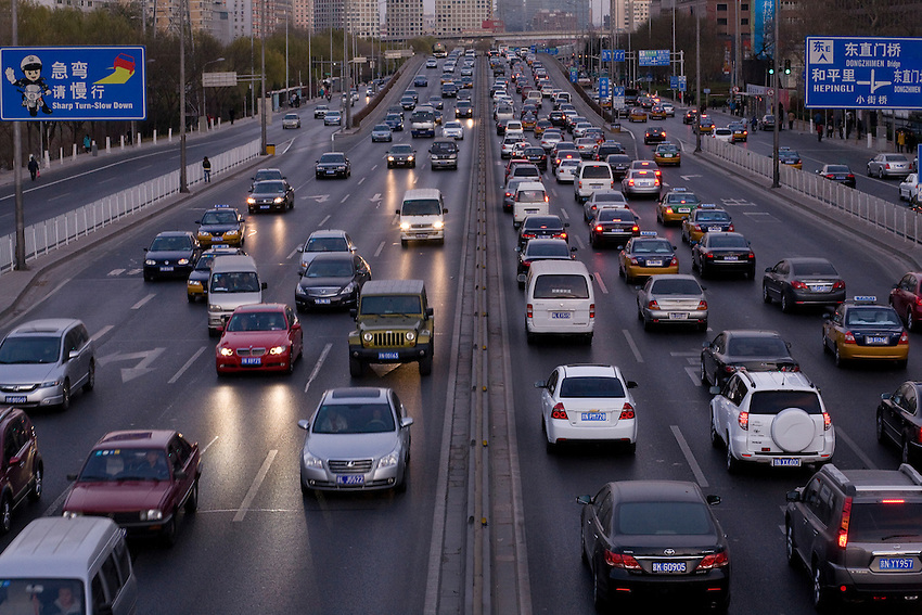 Daily traffic jam On the second ring road north of Beijing, in the direction of the highway to inner mongolia, where a huge traffic jam happened in october.