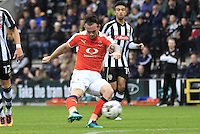 Jack Marriott of Luton Town with an effort on goal during the Sky Bet League 2 match between Notts County and Luton Town at Meadow Lane, Nottingham, England on 29 October 2016. Photo by Liam Smith / PRiME Media