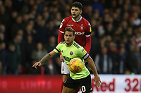 Sheffield United's Billy Sharp, Nottingham Forest's Tobias Figueiredo<br /> <br /> Photographer Rachel Holborn/CameraSport<br /> <br /> The EFL Sky Bet Championship - Nottingham Forest v Sheffield United - Saturday 3rd November 2018 - The City Ground - Nottingham<br /> <br /> World Copyright &copy; 2018 CameraSport. All rights reserved. 43 Linden Ave. Countesthorpe. Leicester. England. LE8 5PG - Tel: +44 (0) 116 277 4147 - admin@camerasport.com - www.camerasport.com