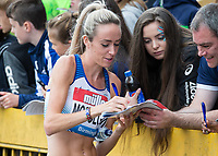 Eilish McColgan of GBR signs autographs for fans after her 3000m race during the Muller Grand Prix Birmingham Athletics at Alexandra Stadium, Birmingham, England on 20 August 2017. Photo by Andy Rowland.