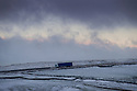 13/01/15<br /> <br /> A lorry makes its way along Axe Edge on the A53 between Leek and Buxton in the Staffordshire Peak District ahead of forecast further heavy snow showers across the country.<br /> <br /> <br /> All Rights Reserved - F Stop Press. www.fstoppress.com. Tel: +44 (0)1335 300098