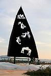 Artwork sculpture showing popular sports, Corralejo, Fuerteventura, Canary Islands, Spain